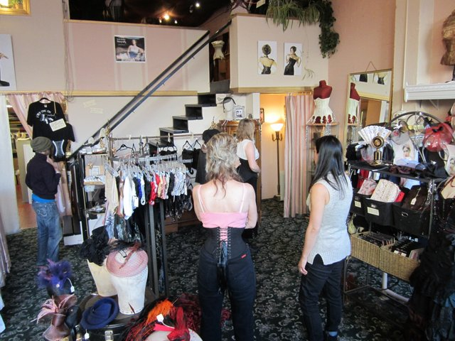 Decision making at Dark Garden corsetry shop