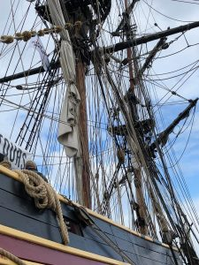 Rigging of Lady Washington in harbour