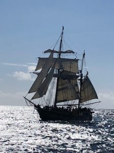 Hawaiian Chieftain coming about to fire her cannon